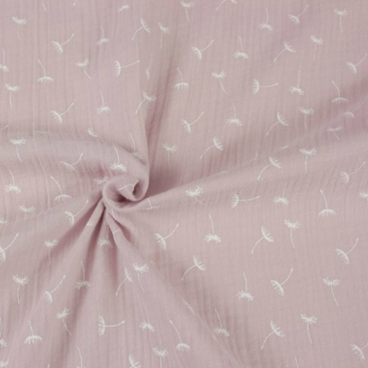 light pink double gauze cotton fabric with dandelion