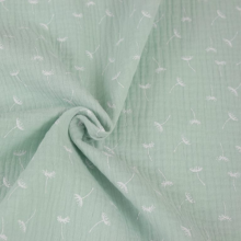 water green double gauze cotton fabric with dandelion