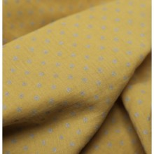 Cotton crepon fabric banana with silver polka dots