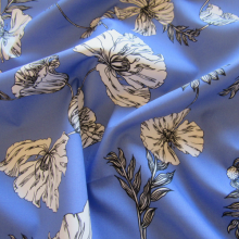 Blue cotton fabric black and white poppies
