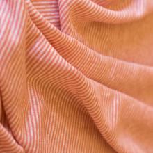 Linen jersey fabric  -  coral and white cream striped