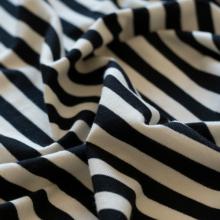 Jersey di cotone righe marinaio nere e panna