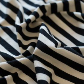 Navy striped cotton jersey fabric black and creamy white