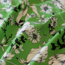Green cotton fabric black and white poppies