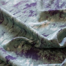 Crepe di viscosa acquamarina Tie and Dye