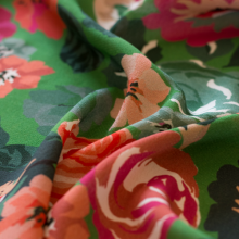 Green viscose crepe fabric Japanese flowers