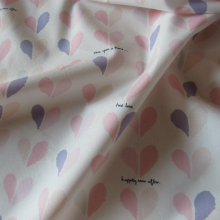 Pink and cream coloured cotton remnant Happily Ever After 68 cm x 115 cm