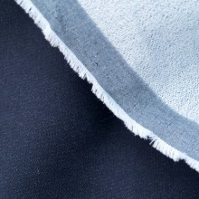 Scampolo di cotone denim stretch blu scuro 41 cm x 145 cm