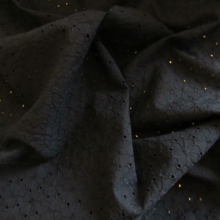 Black broderie anglaise cotton fabric