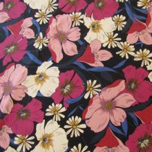Blue cotton canvas fabric Anemones