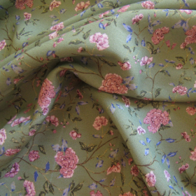 Viscosa floreale verde in stile Liberty