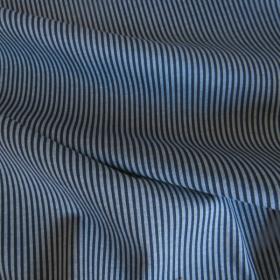 Cotton knit fabric - dark blue/light blue stripes