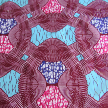 Super Wax fabric rasperry turquoise ans pink coloured