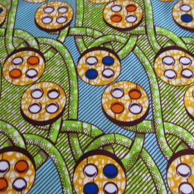 Wax fabric anise light blue and orange coloured
