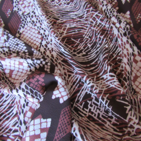 polyester fabric ethnic pattern and garnet coloured