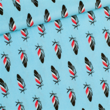 Feathers pattern cotton fabric Tycling toes Crystal Blue