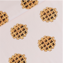 Nude French terry knit fabric Waffles