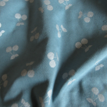Cotton Jersey knit fabric Cherries Silver slate coloured
