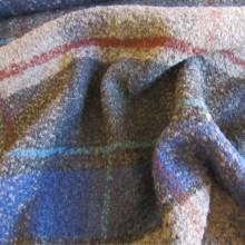 Blu/brown wool bouclé remnant 77 cm x 135 cm