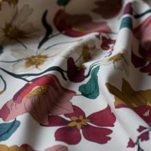 Ivory cotton canvas fabric Anemones