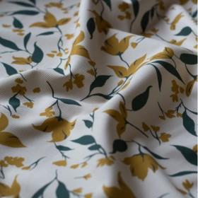 Tessuto di cotone canvas avorio Aquilegia beige dorato