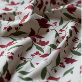 Ivory cotton canvas fabric carmine red Columbine