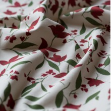 Ivory cotton canvas fabric carmine red Columbine