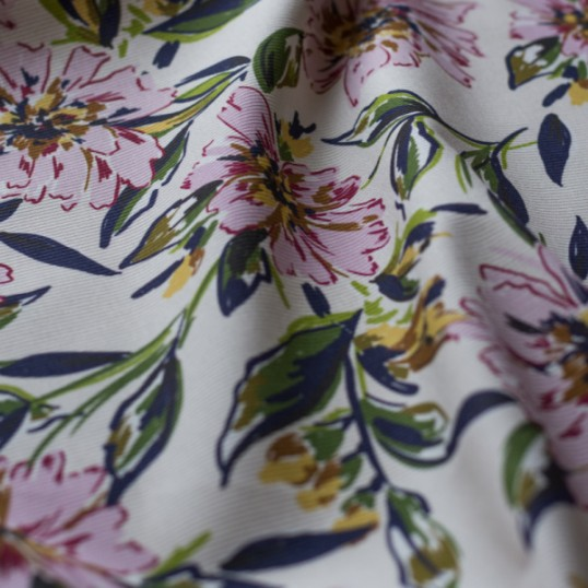 Ivory cotton canvas fabric Dahlia