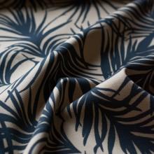 Cotton pique fabric sand and black Palm