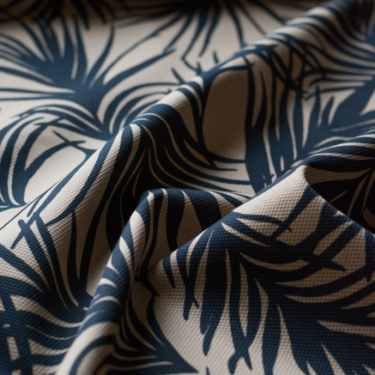 Cotton pique fabric sand and black Palm