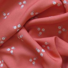 Viscose crepe fabric Trio de fleurs Coral