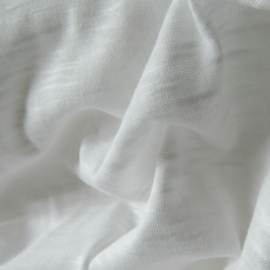 Linen jersey fabric  -  white