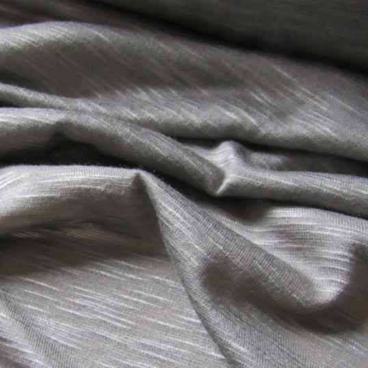 Linen jersey fabric  -  grey mud