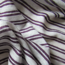 Linen jersey fabric  - purple and creamy stripes