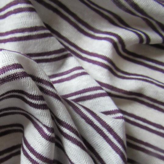 Linen jersey fabric  - purple and creamy stripes