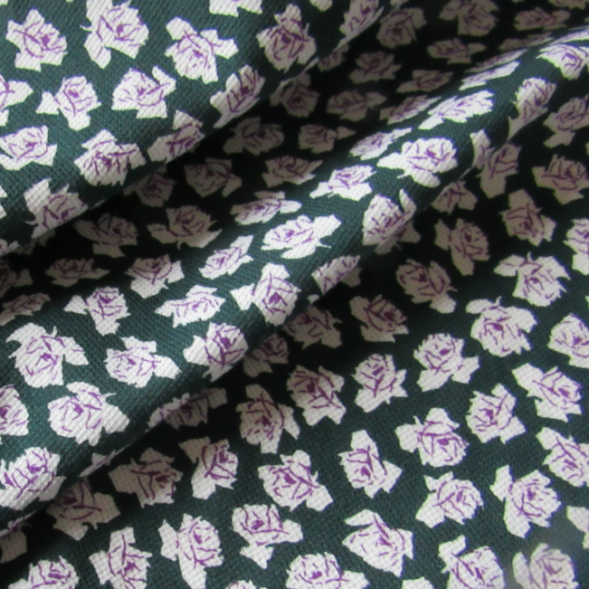 Cotton jersey fabric  - Green and purple roses