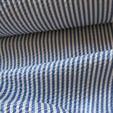 Blue and white seersurcker fabric