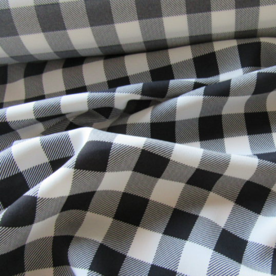 Viscose fabric  black and white checkered