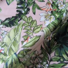 Pink cotton fabric tropical and flowered pattern