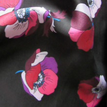 Black viscose fabric Anemones