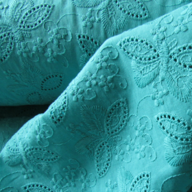 Turquoise broderie anglaise cotton fabric