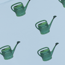 Fog Blue French terry knit fabric Watering Cans