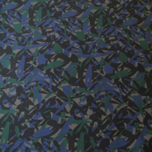 Dark blue and green cotton fabric Remnant 41 cm x 148 cm