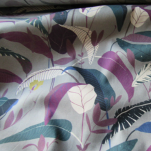 Green grey cotton fabric tropical pattern