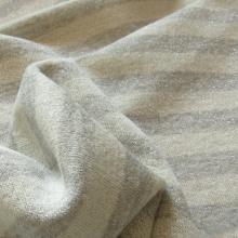 Grey stripes Lurex french terry knit fabric