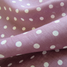Blackberry linen fabric with polka dots