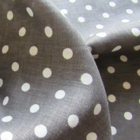 Grey linen fabric with polka dots