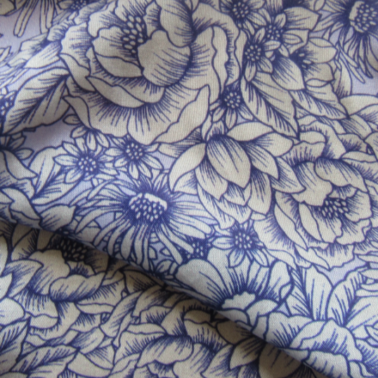 Viscose fabric cobalt blue flowers