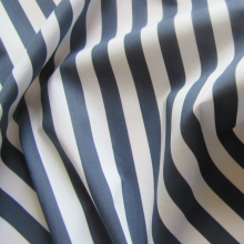 Blue and white striped cotton fabric