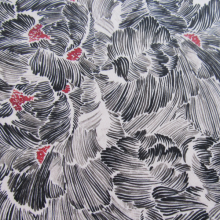 Viscose fabric black flowers